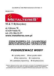 M & T Rybczyńscy PODGRZEWACZ WODY - Metalteres