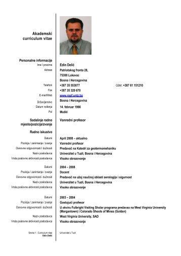 Akademski curriculum vitae - Rudarsko-geološko-građevinski ...