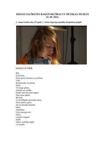 dalībnieku dzejas publikācija - Rakstniecības un mūzikas muzejs