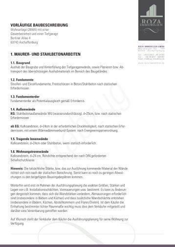 Baubeschreibung (PDF) - ROZA Immobilien