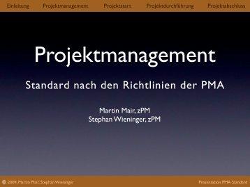 Standard nach den Richtlinien der PMA - projektconsulting.at