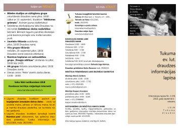 Informācijas lapiņa Nr. 2 - Tukuma draudze
