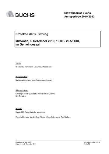 Protokoll 08. Dezember 2010 - Gemeinde Buchs