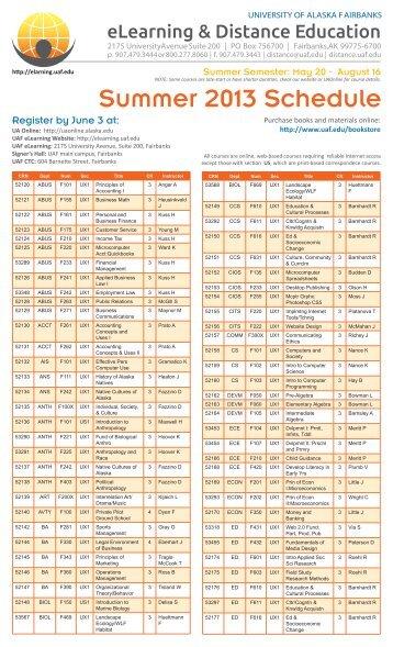 Summer 2013 Semester-Based Courses - UAF eLearning ...