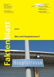 Was sind Hauptstrassen? - Fussverkehr Schweiz