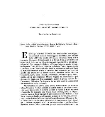 Storia della civiltà letteraria russa, diretta da ... - Europa Orientalis