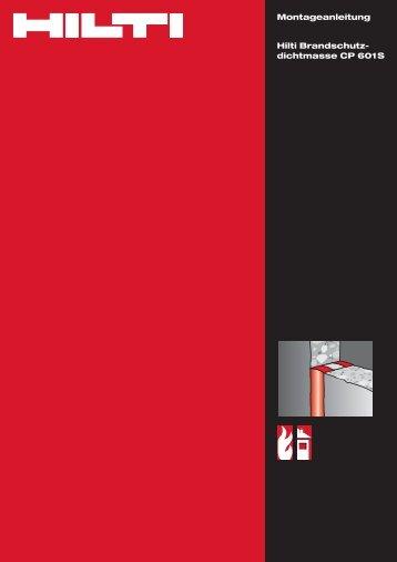 Montageanleitung Hilti Brandschutz- dichtmasse CP 601S