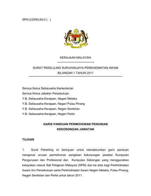 Spa U 2400 Jld 4 Kerajaan Malaysia Surat Pekeliling