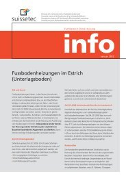 Fussbodenheizungen im Estrich (Unterlagsboden) - Suissetec