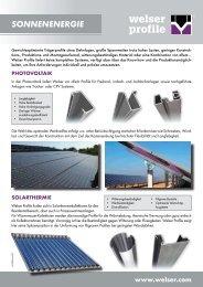 Branchenblatt Sonnenenergie - Welser Profile AG