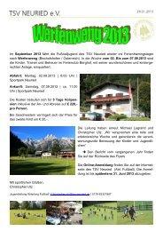 Weitere Informationen finden Sie im aktuellen Flyer - TSV Neuried