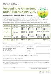 Verbindliche Anmeldung KIDS-FERIENCAMPS 2012 - TSV Neuried