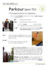 Weitere Informationen zu Parkour beim TSV können ... - TSV Neuried