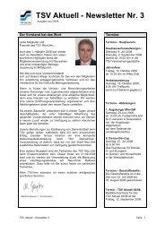 TSV Aktuell - Newsletter Nr. 3 - TSV 1880 Neu-Ulm