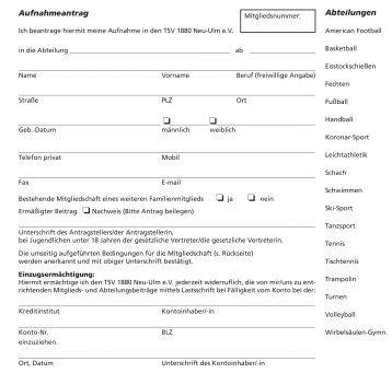 Aufnahmeantrag Abteilungen - TSV 1880 Neu-Ulm