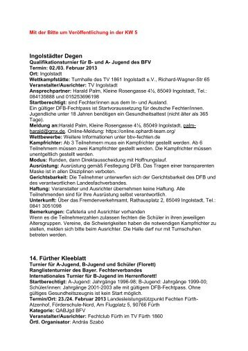 Fechten KW 5 - TSV 1880 Neu-Ulm