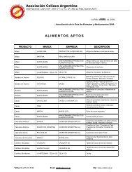 Asociación Celíaca Argentina ALIMENTOS APTOS