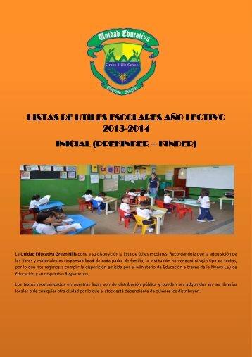 listas de utiles escolares año lectivo 2013-2014 inicial (prekinder ...