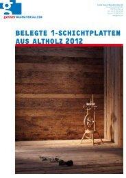 belegte 1-Schichtplatten auS altholz 2012 - Gasser Baumaterialien AG