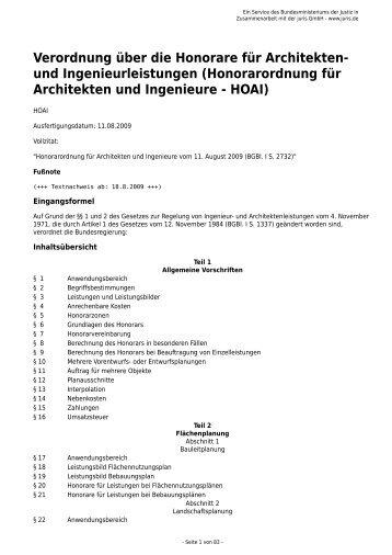 Architekt Hoai honorarordnung fã r architekten und ingenieure hoai