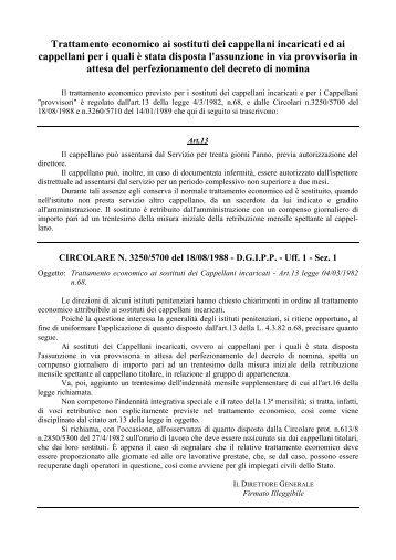 Trattamento economico ai sostituti dei cappellani incaricati ed ai ...