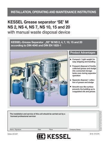 "KESSEL Grease Separator Euro ""G"" NS 1, 2 and 4 ... - Kessel Design"