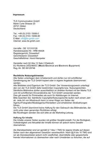 (0) 2103 / 5006-0 Fax: +49 (0) 2103 - TLS Communication GmbH