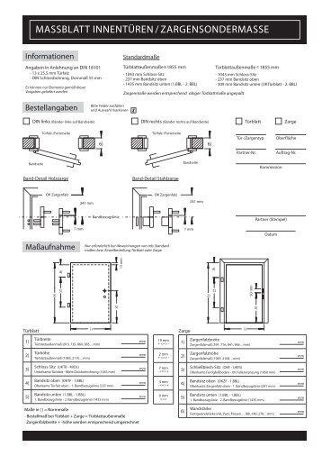 Massblatt Innentüren / Zargensondermasse   Porta System.de