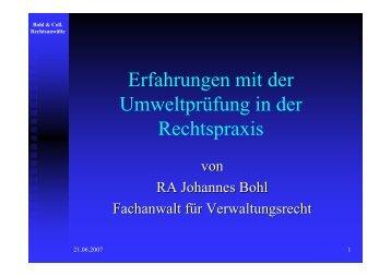 Erfahrungen mit der Umweltprüfung in der Rechtspraxis - Bohl ...
