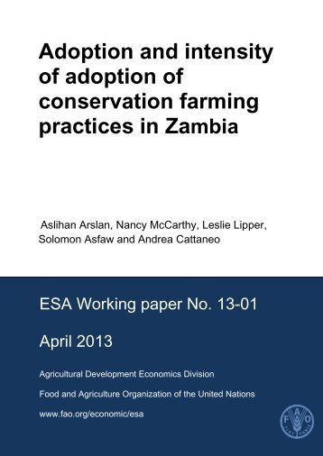 Adoption and intensity of adoption of conservation farming practices in Zambia