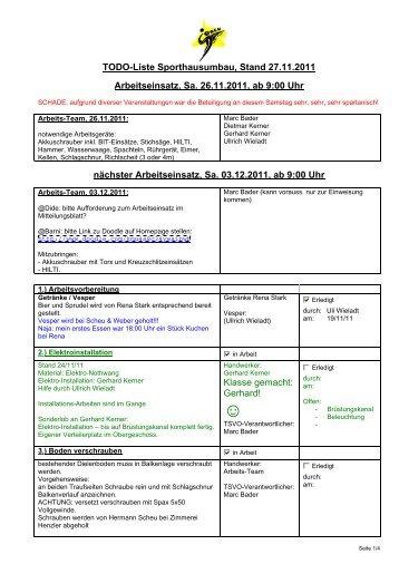 TODO-Liste Sporthausumbau, Stand 27.11.2011 Arbeitseinsatz, Sa ...