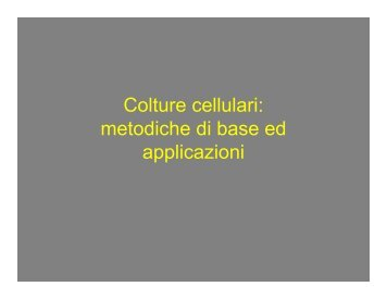 Colture cellulari: metodiche di base ed applicazioni Colture cellulari ...