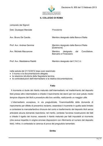 Decisione N. 855 del 13 febbraio 2013 - Arbitro Bancario Finanziario