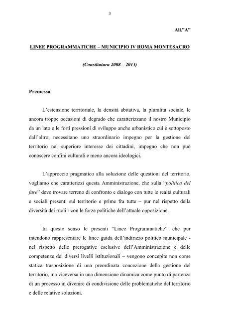 LINEE PROGRAMMATICHE – MUNICIPIO IV ... - Comune di Roma