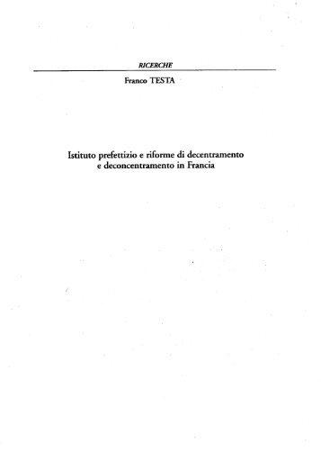 Franco TESTA - Scuola Superiore dell'Amministrazione dell'Interno ...