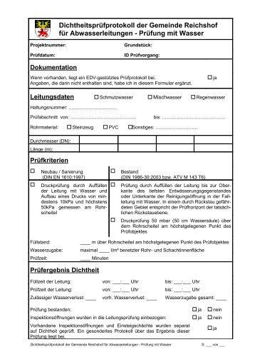 Dichtheitsprüfprotokoll für Abwasserleitungen - Gemeinde Reichshof