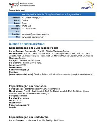 Especialização em Buco-Maxilo Facial - Associação Paulista dos ...