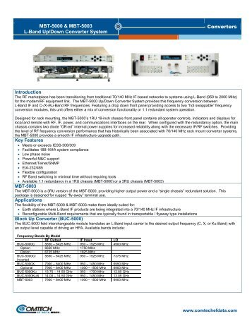 Converters MBT-5000 & MBT-5003 L-Band Up ... - Comtech EF Data