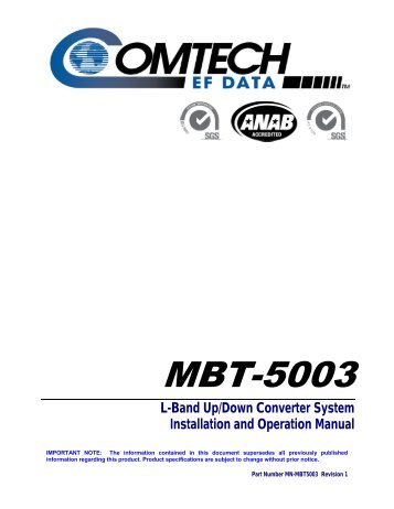 MBT-5003 L-Band Up/Down Converter - Comtech EF Data