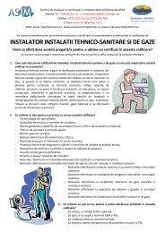 INSTALATOR INSTALATII TEHNICO-SANITARE SI DE GAZE