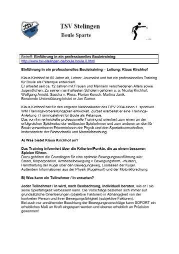 Weitere Infos von Klaus Kirchhof - TSV Stelingen