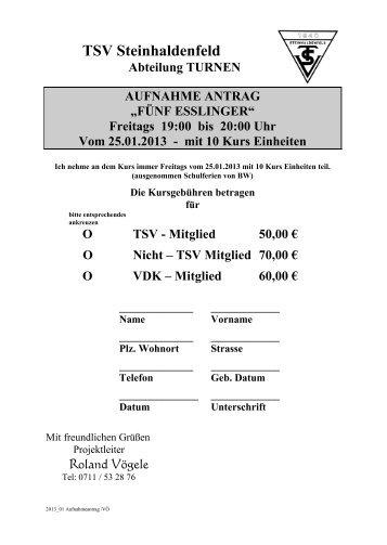 Bitte melden Sie sich über dieses Formular an (hier klicken) - TSV ...
