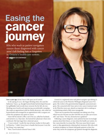 Easing the Cancer Journey - Registered Nurses' Association of ...