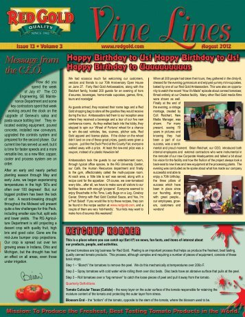 August 2012 Vine Lines Newsletter - Red Gold