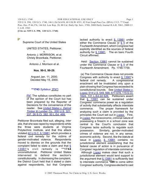 United States v  Morrison - California Western School of Law