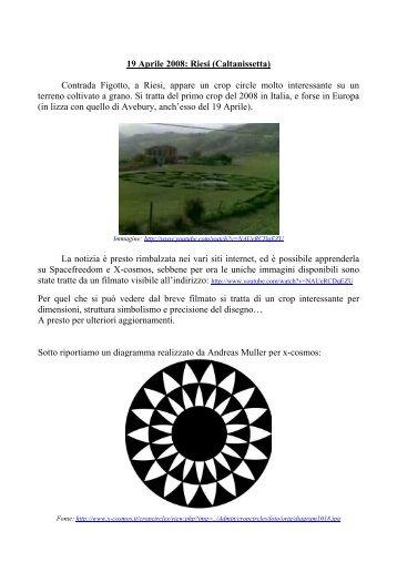 19 Aprile 2008: Riesi - crop circles, cerchi nel grano