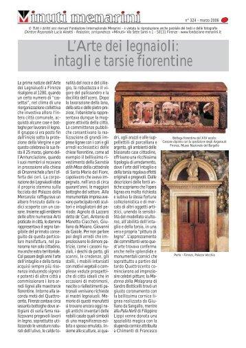intagli e tarsie fiorentine - Fondazione Internazionale Menarini