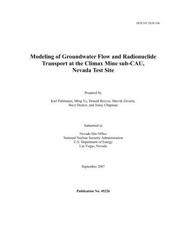 Modeling of Groundwater Flow and Radionuclide Transport at the ...
