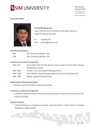 Dr Luke Peh Lu Chang Curriculum Vitae - SIM University