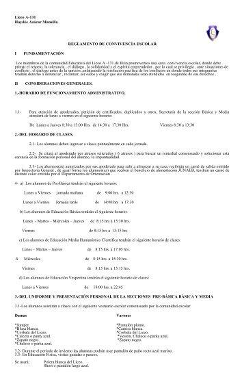 Liceo A-131 Haydée Azócar Mansilla REGLAMENTO DE ...